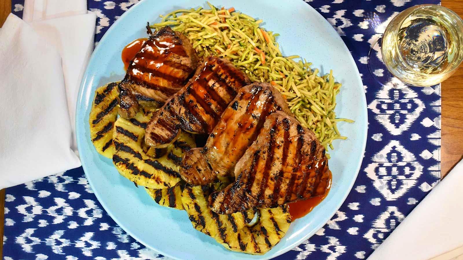 Seared Ahi Tuna Steaks with Grilled Pineapple, Sweet Chile Sauce and Broccoli Slaw