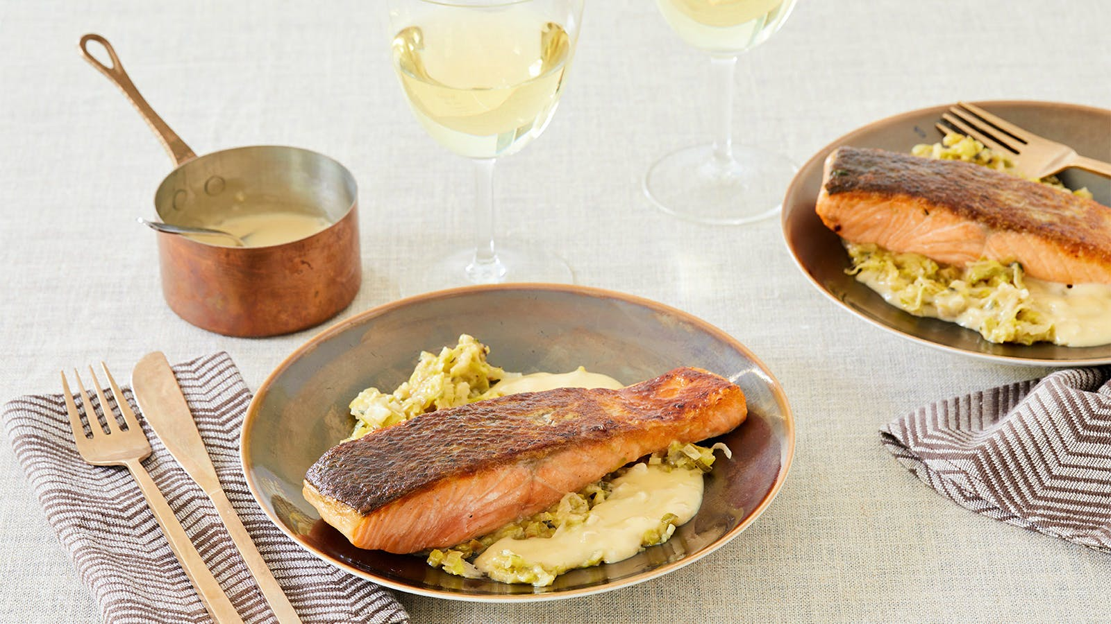 Crispy Salmon with Melted Leeks & Beurre Blanc