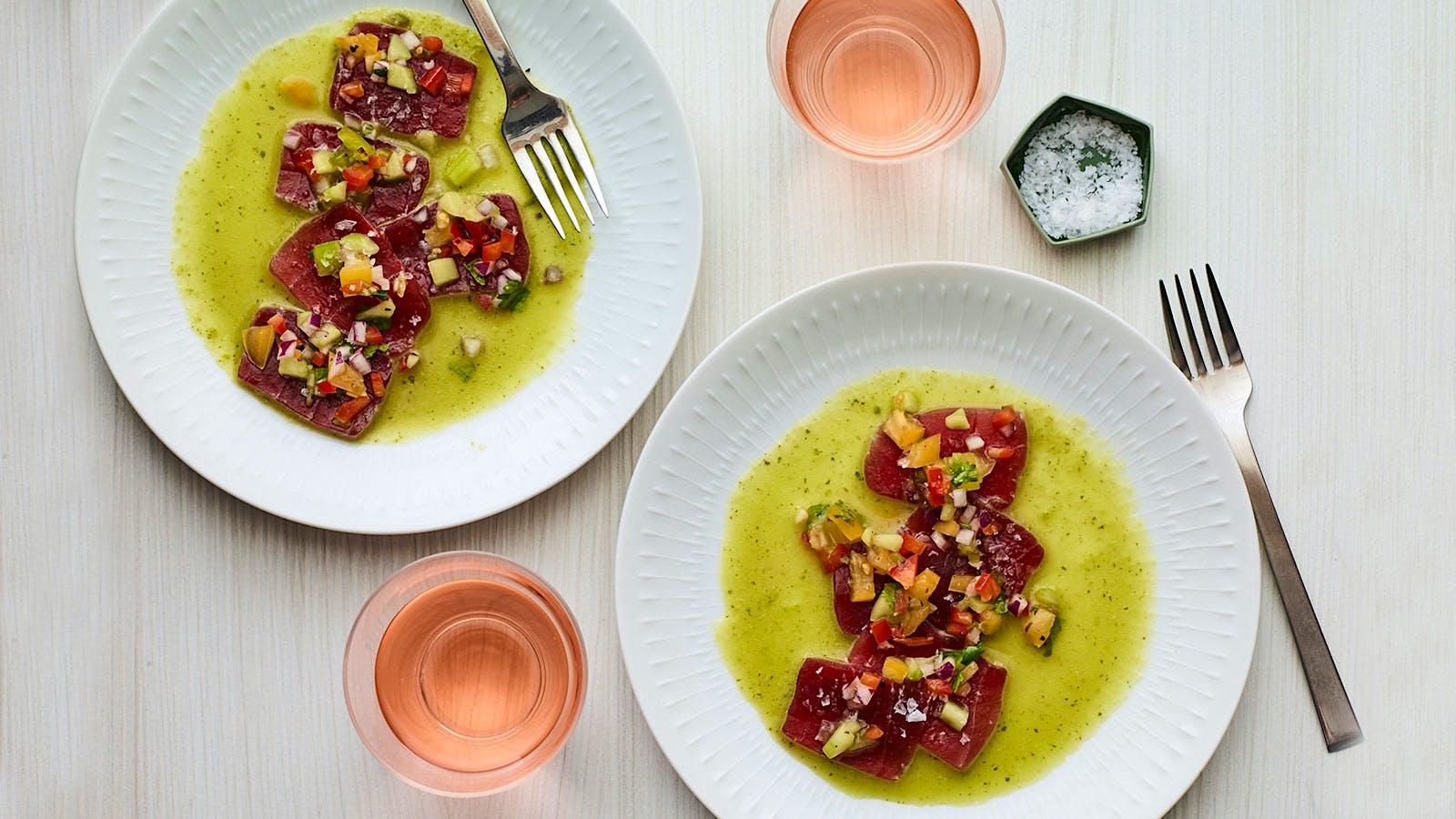 Tuna Aguachile with Lime, Cilantro and Mint