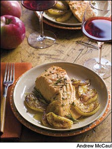 Cider-Poached Salmon With Apples