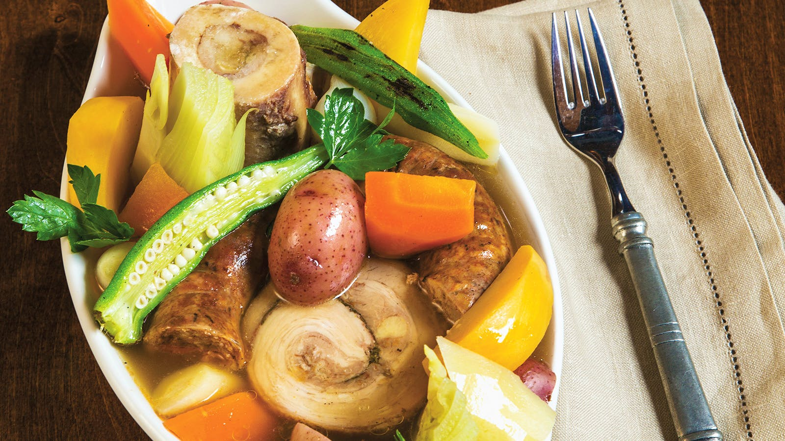 Pot Au Feu with Pork Belly, Bone Marrow and Hearty Vegetables