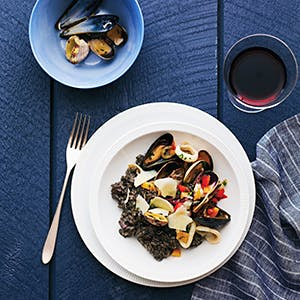 Squid Ink Risotto with Shellfish and Squid