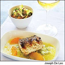 Grilled Striped Bass with Fennel Salad and Grapefruit Emulsion