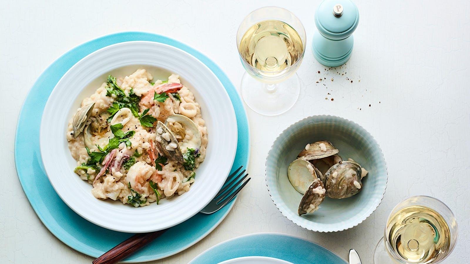 Seafood Risotto with Broccoli Raab