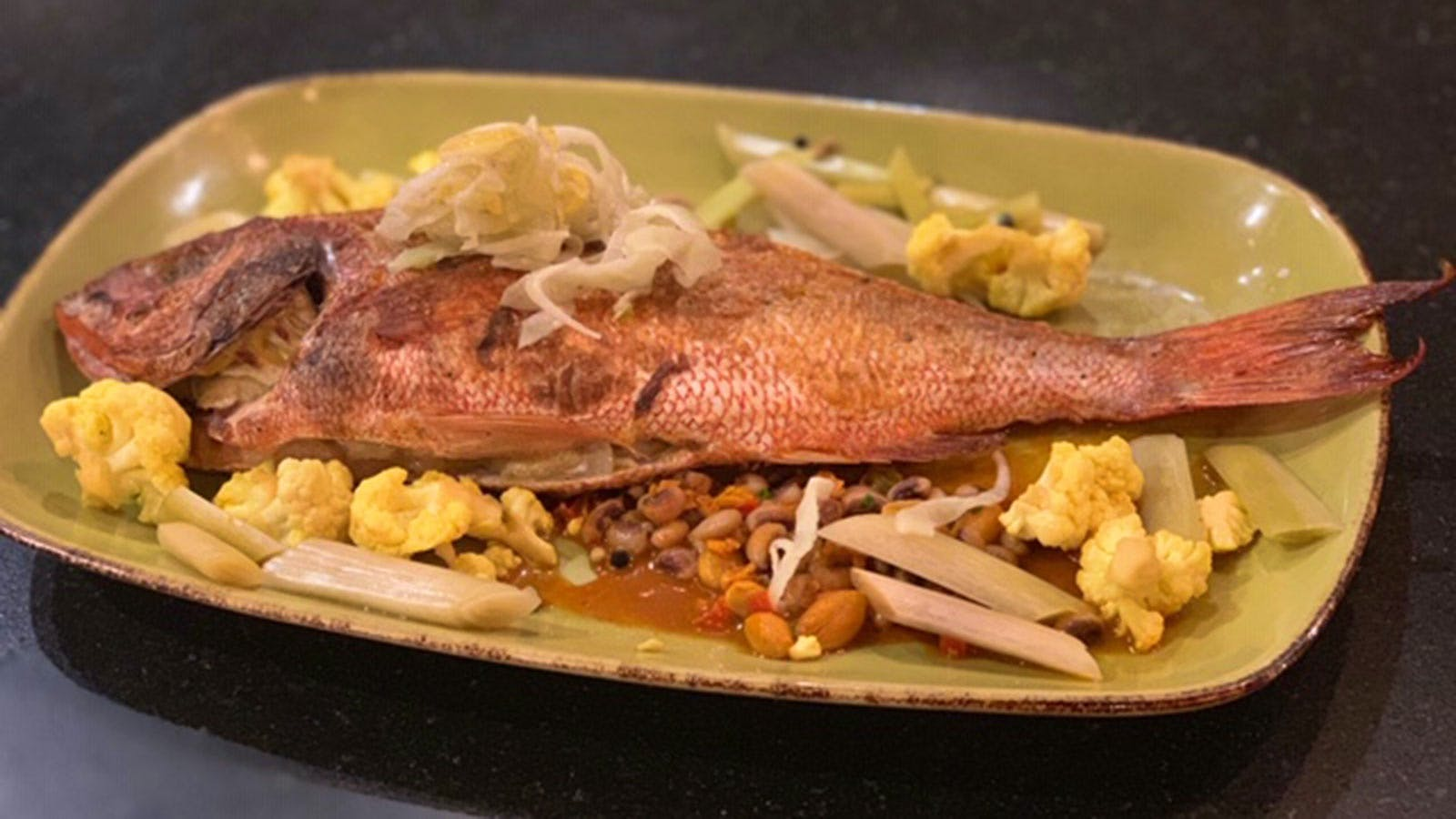 Whole Roasted Red Snapper on Boiled Peanut Succotash