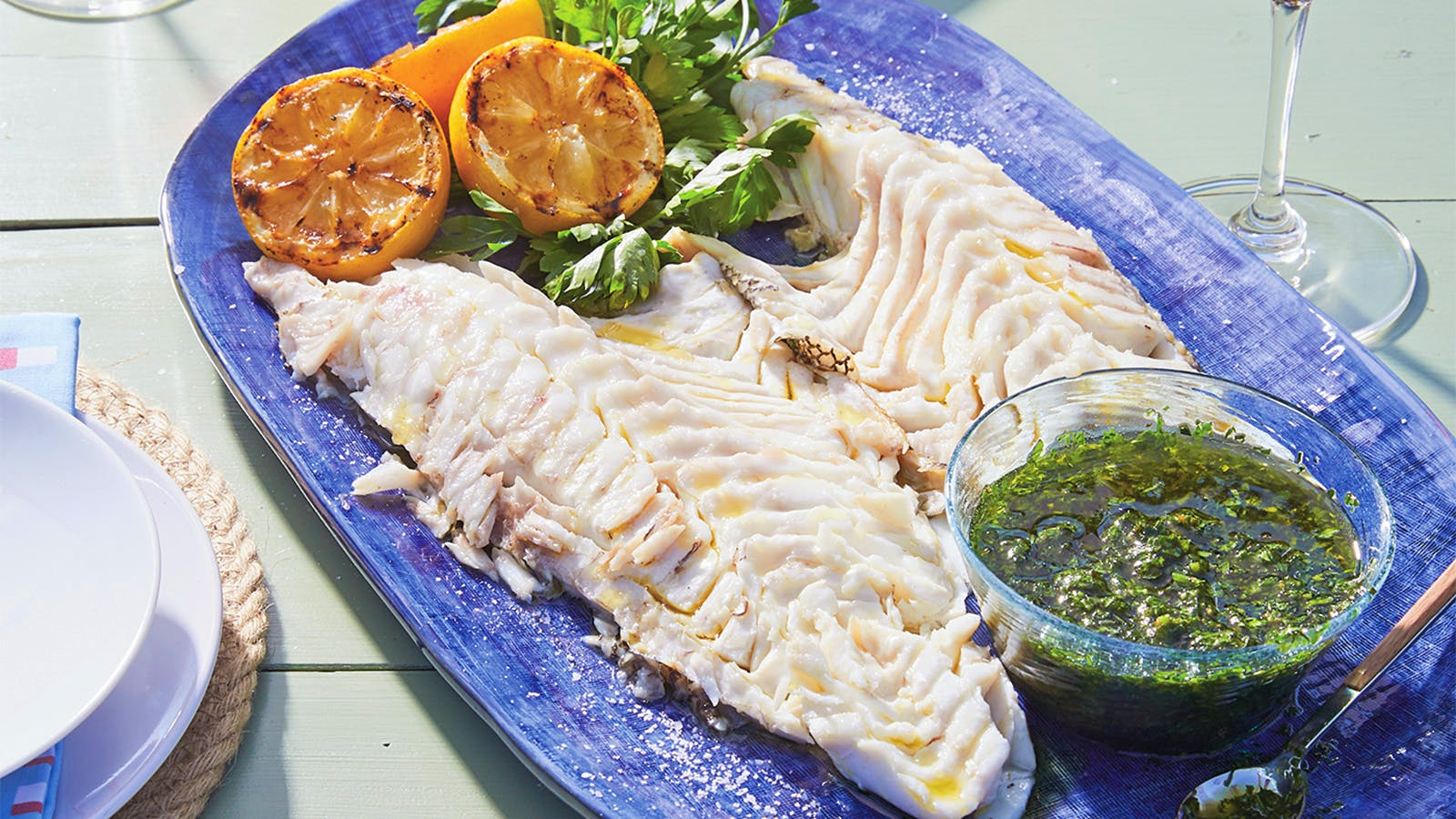 Whole Grilled Black Bass with Salsa Verde and Salsa Palermitana