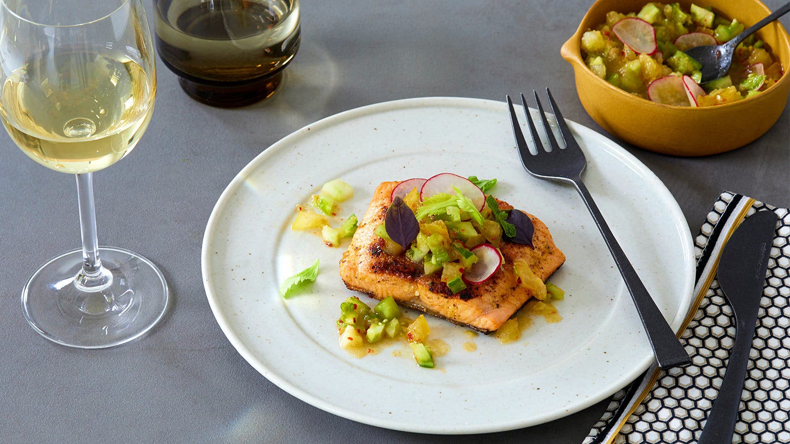 Grilled Sea Trout with Green Tomato Salsa Verde
