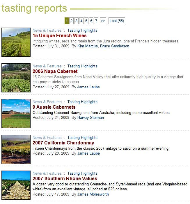 Tasting report sample page image