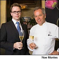 Wine director Christopher Miller and owner Wolfgang Puck