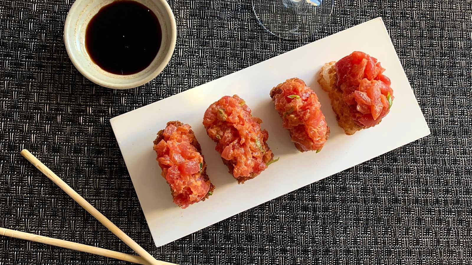 8 & $20: Crispy Rice with Spicy Tuna