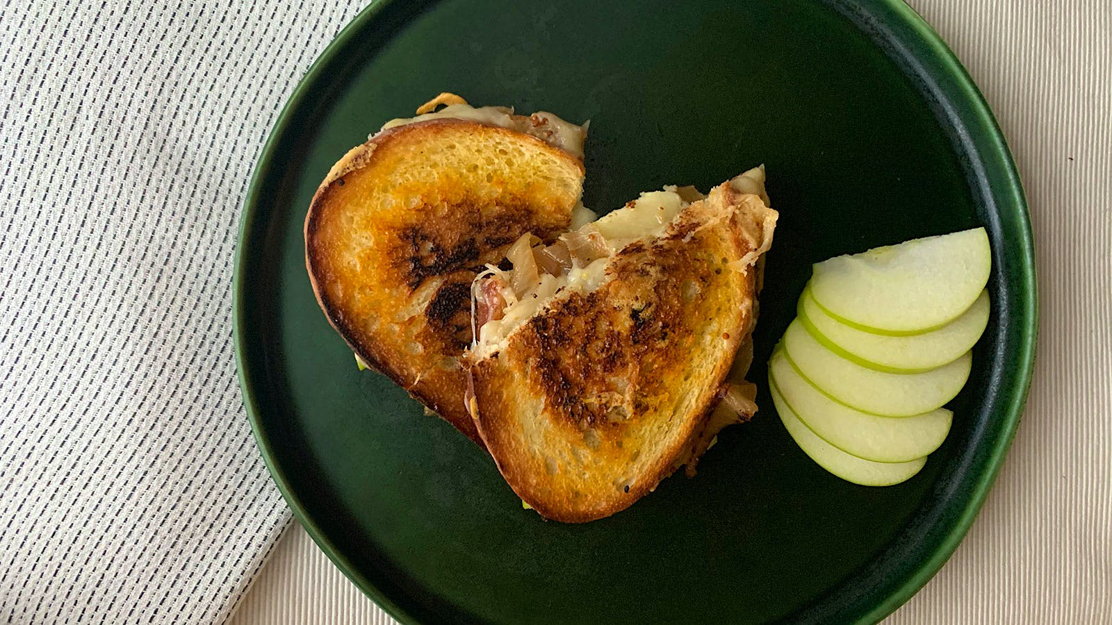 8 & $20: Dressed-Up Grilled Cheese with Caramelized Onions, Apples and Dijon