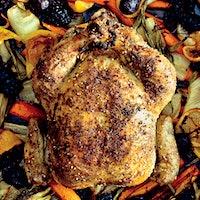 五最喜爱的食谱+ 12种大犹太葡萄酒:一整个烤鸟是从漆树,za'atar,保存柠檬和新鲜herbs.High假期给出的味道升压金宝博手机