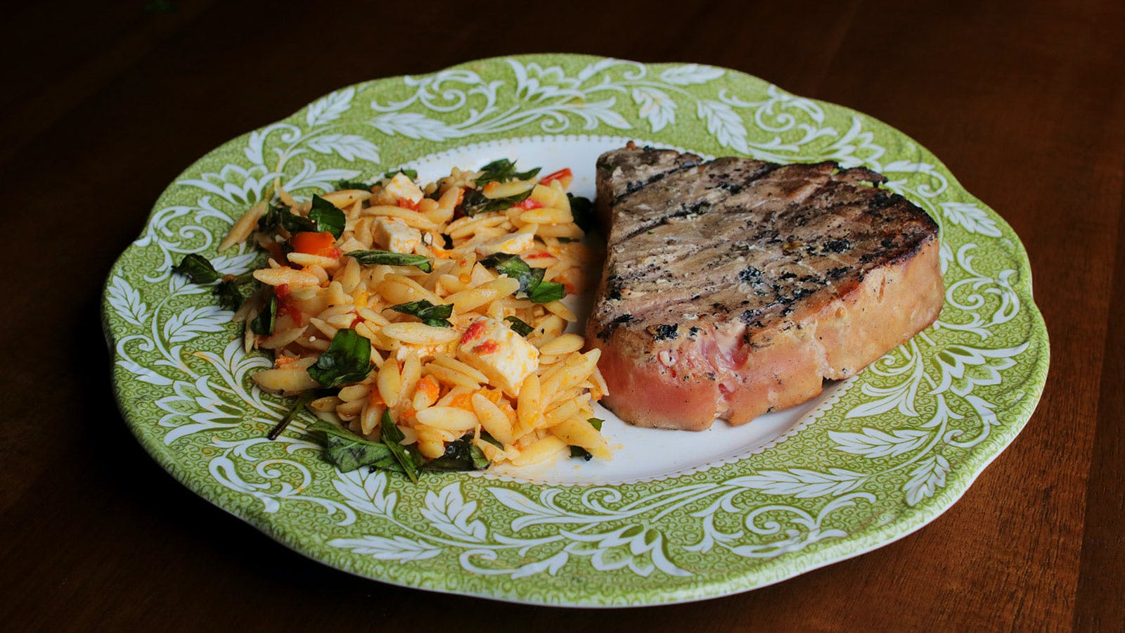 8 & $20: Tuna Steaks with Tomato-Basil Orzo