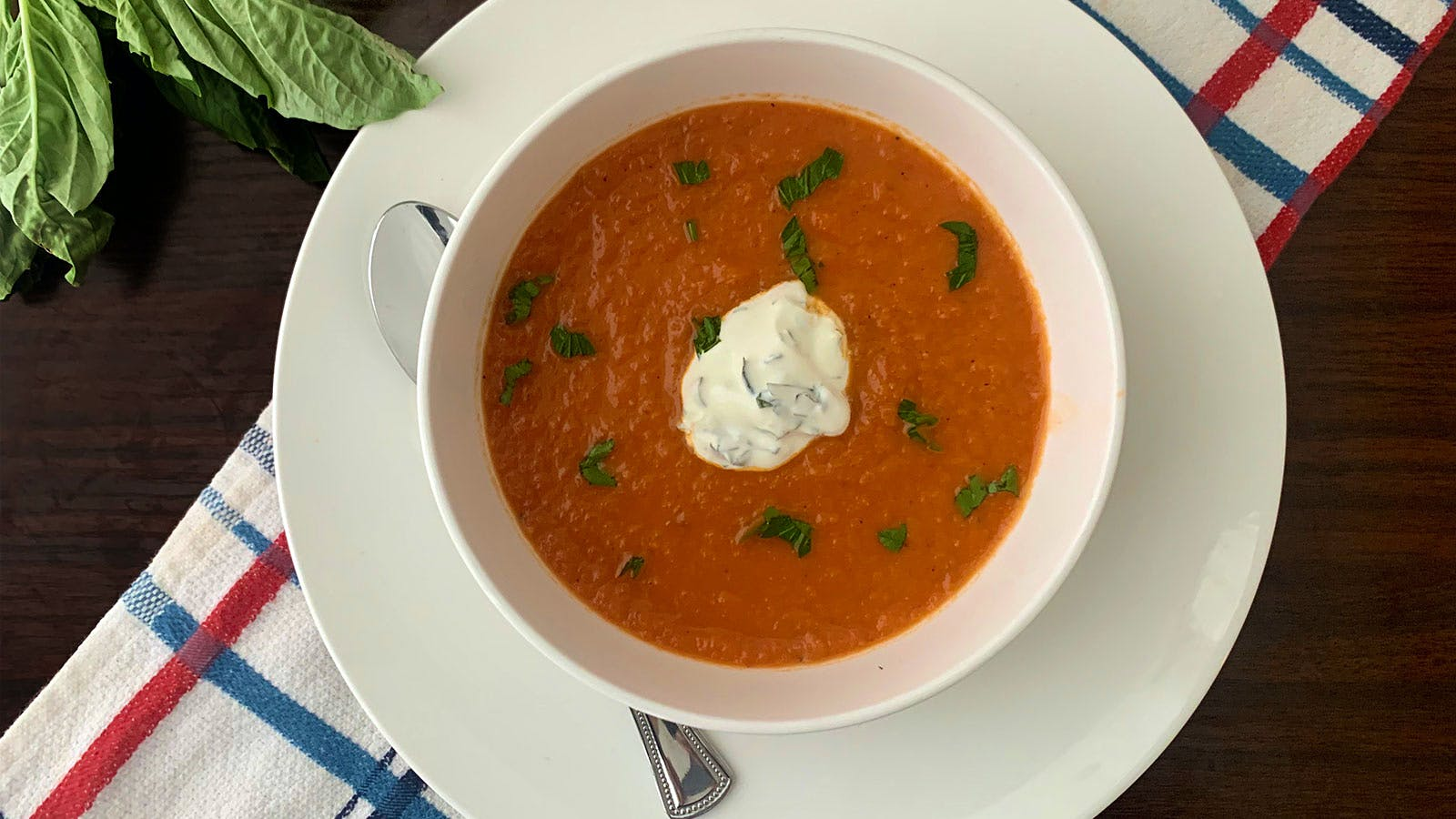 8 & $20: Spicy Roasted-Tomato Soup with Herb Crema and a Rhône Red
