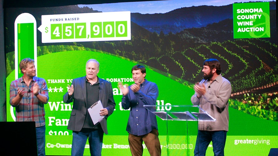 From left: Jake Bilbro, Michael Haney, Mark McWilliams and Clay Mauritson kept the online crowd entertained as they announced the winning bidders.