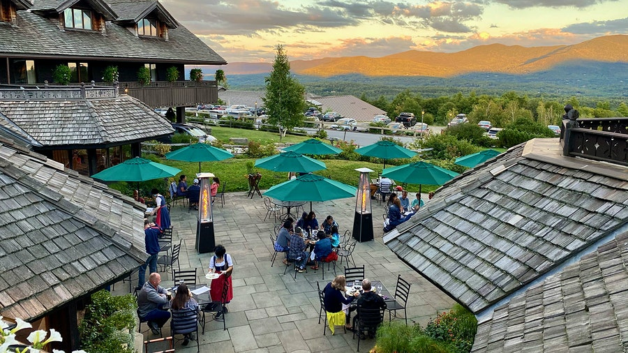 The patio at Trapp Family Lodge in Stowe, Vt., is open for wining and dining with skyline views.
