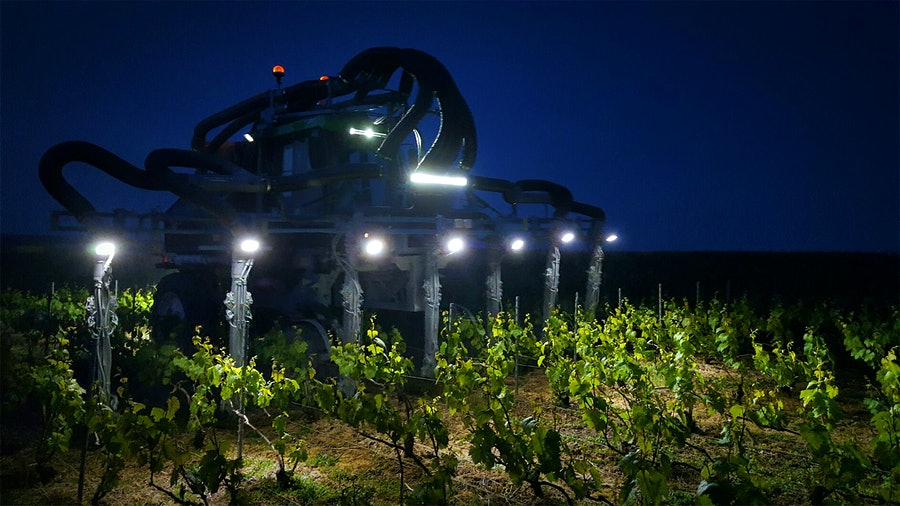 A tractor at Champagne Louis de Sacy, armed with garlic spray. It is also rumored to ward off Champires.