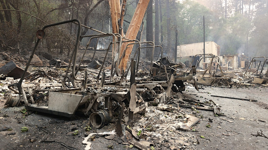 Charred golf carts sit near what was once Meadowood's golf shop; the Grand Award-winning main restaurant was also destroyed.