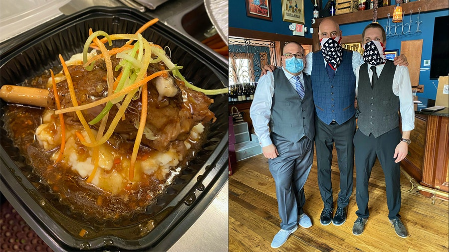 The team at Chez François, which includes hospitality specialist Omar Rivera, wine director Matthew Mars and hospitality specialist Evan Cecil, has continued a scaled-down version of their takeout program, with dishes like braised Heritage pork shank.