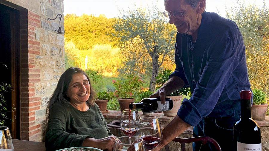 Winemaking was an afterthought when Claudia Rizza and Ev Thomas bought their property in Umbria so that the artist could more easily travel in and out of Rome. Now it is the center of their life.
