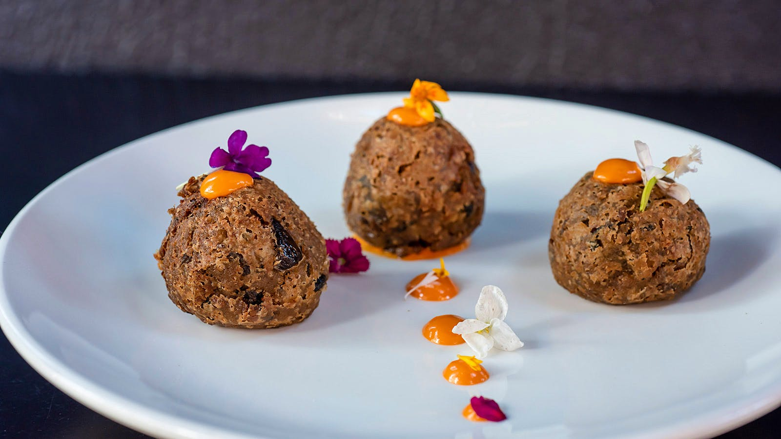 Autumn Meatless Meatballs with Red Pepper Sauce from Harlem's Vinatería