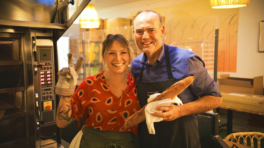 Chef Charlie Palmer with baker Crystal White
