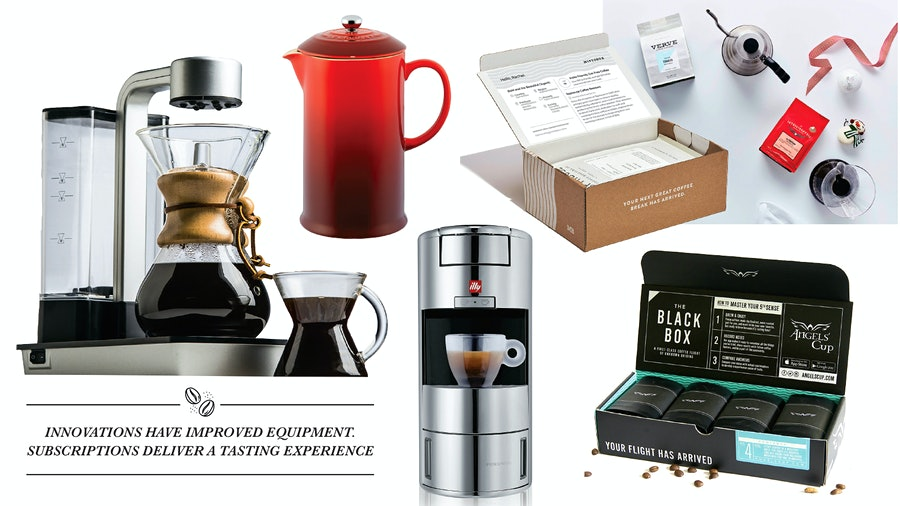 Collage of giftable coffee accessories