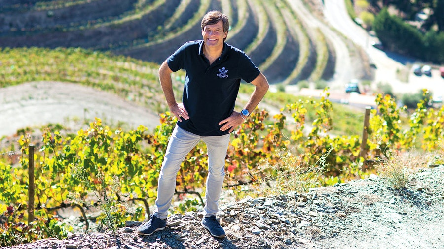 Quinta do Crasto's Miguel Roquette stands amid the steep terraces of his Douro Valley vineyards.