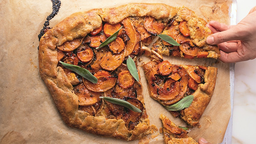 "With dishes like this butternut galette, Ottolenghi and Belfrage prove that vegetables can become ""flavor bombs."""