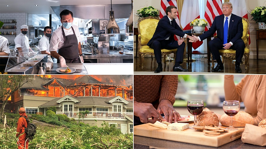 Clockwise from top left: Restaurant staff work masked during the pandemic; French president Emmanuel Macron tries to smooth tensions with U.S. president Donald Trump; wine and cheese pair well with brain health; Meadowood Resort burns in the Glass Fire.