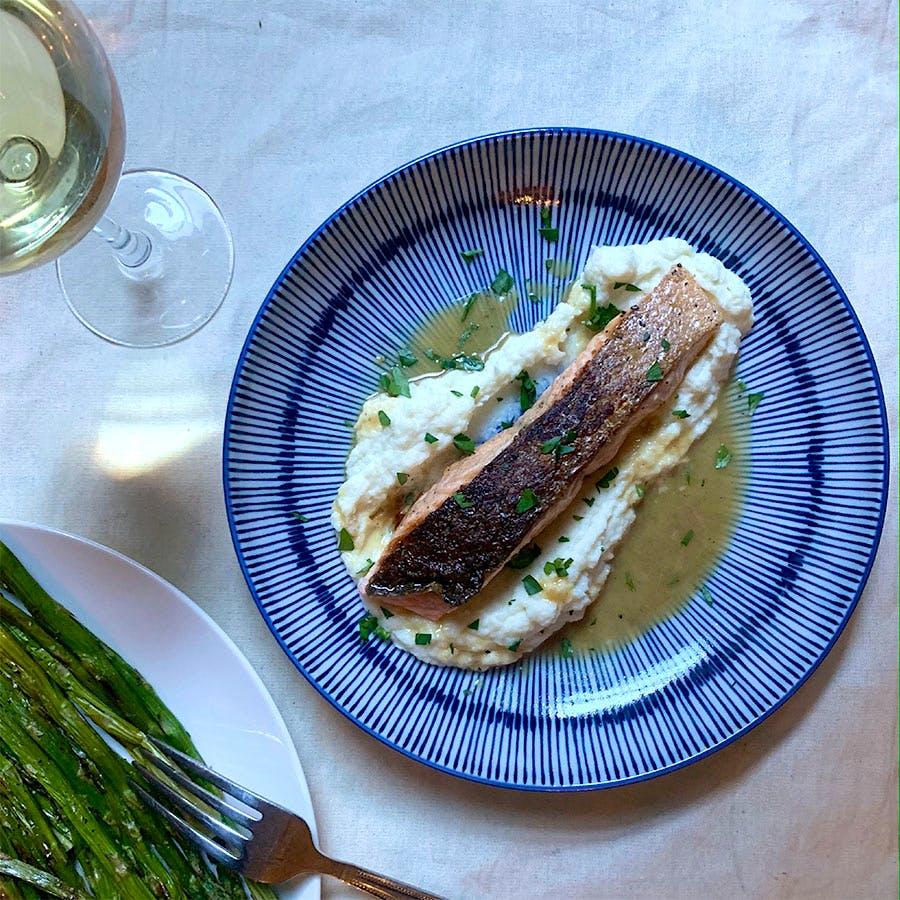 8 & $20: Crispy-Skin Salmon with Creamy Cauliflower Puree and White Burgundy