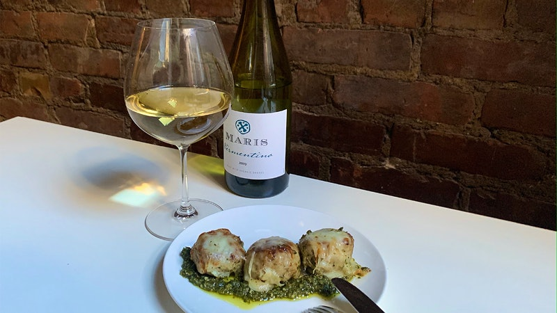 8 & $20: Cheesy Pesto-Chicken Meatballs with Vermentino