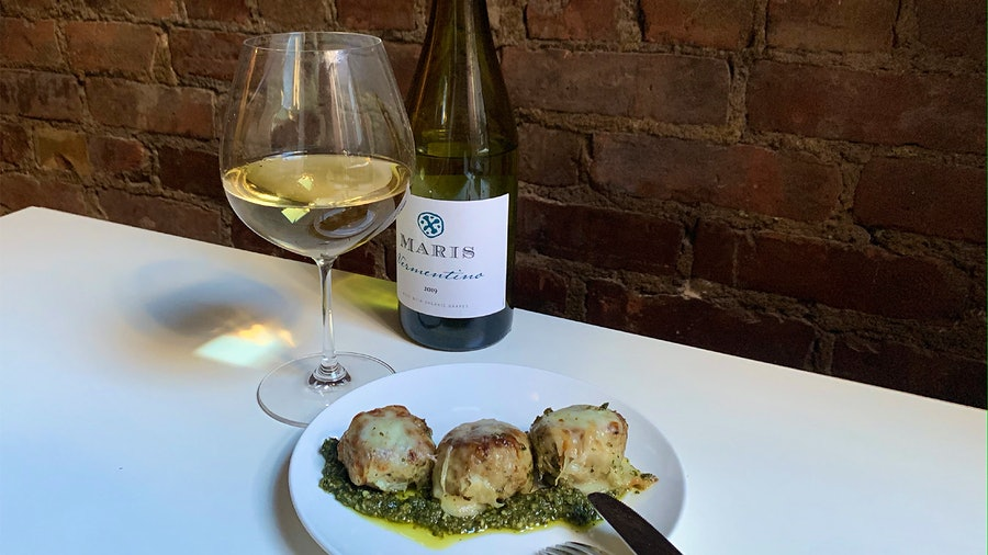 Image for the article titled:8 & $20: Cheesy Pesto-Chicken Meatballs with Vermentino