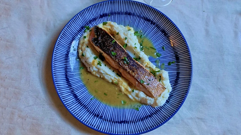 8 & $20: Crispy-Skin Salmon with Creamy Cauliflower Puree and White Burgundy