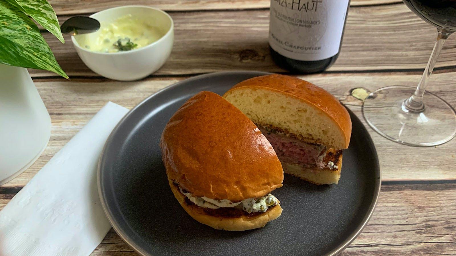 8 & $20: Lamb Burgers with Lemony Yogurt-Caper Sauce and a Languedoc Red