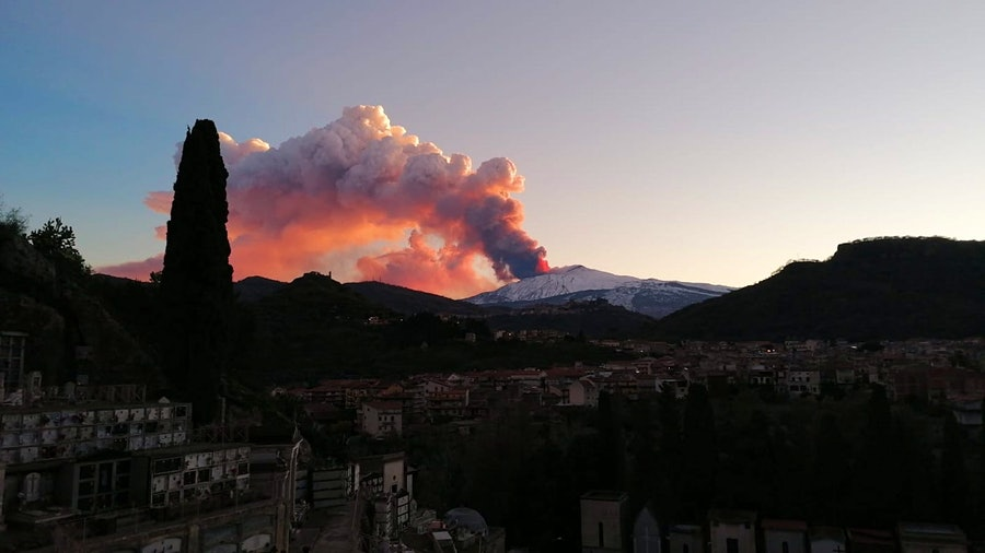 The 10,000-foot tall Mt. Etna has erupted twice this week.