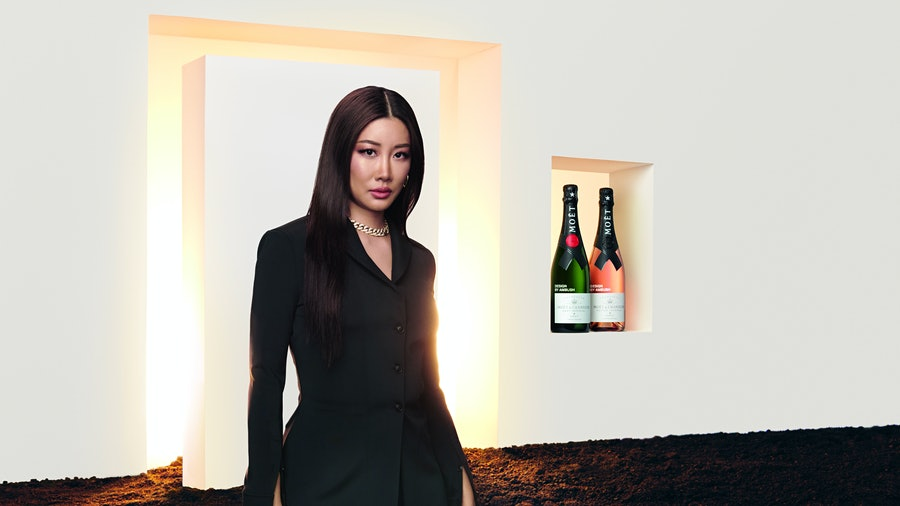 """Fashion designer Yoon Ahn describes her Moët & Chandon x Ambush collaboration as a """"metaphorical window of a future filled with endless possibilities."""""""