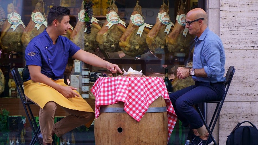 Stanley Tucci sits down with with Nicola Salvadori, owner of Salumeria Garibaldi in Parma, Italy.