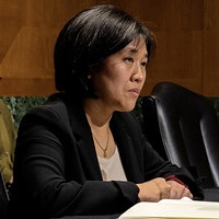 Katherine Tai speaks to U.S. senators during her confirmation hearing. One of her first acts as U.S. Trade Representative has been to suspend tariffs on European wine.U.S. Government Pauses Tariffs on European Wines