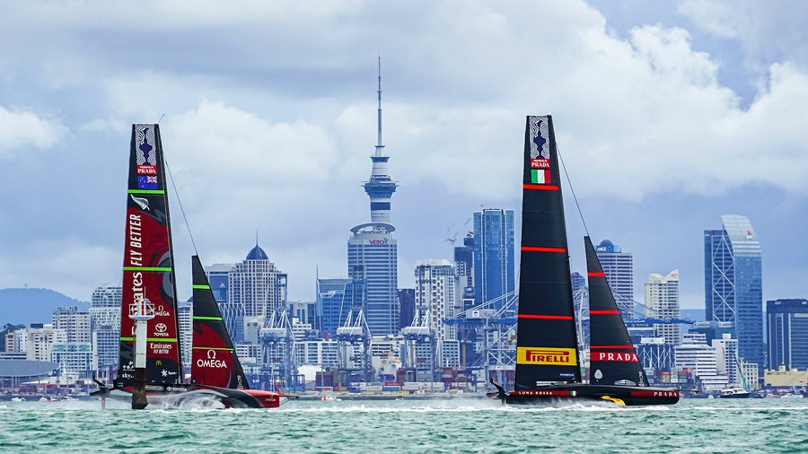 Emirates Team New Zealand (left) and Luna Rossa Prada Pirelli compete in the 36th America's Cup race.