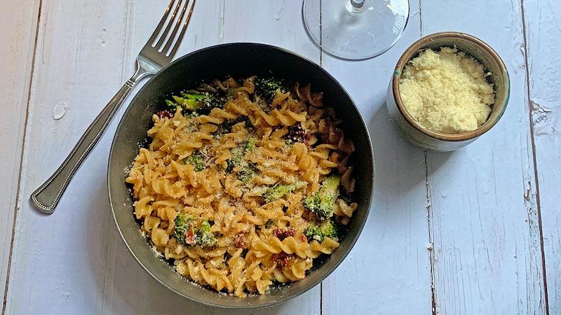 8 & $20: Cheesy Broccoli Pasta with Sun-Dried Tomato and Grechetto