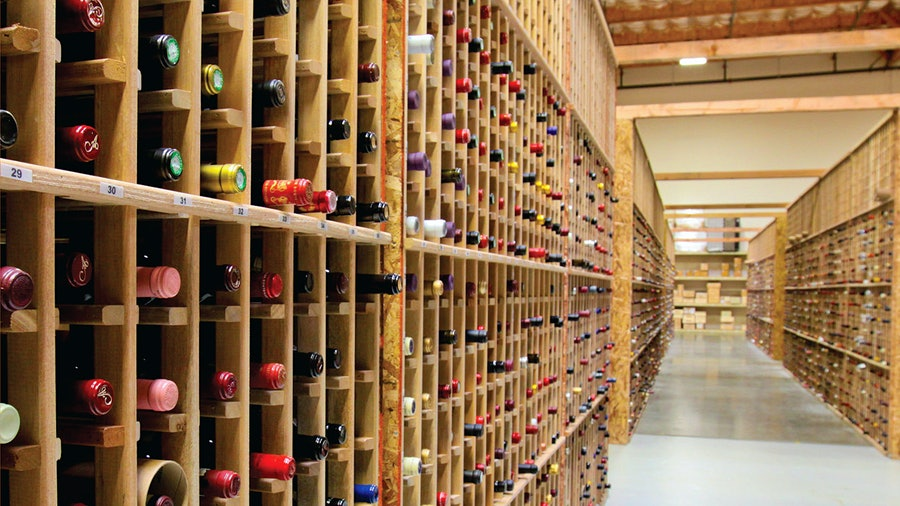Wines consigned to WineBid are stored in a Napa Valley cellar as they await bidding.