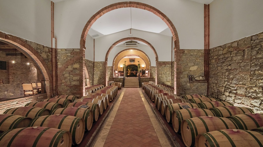 The barrel room at San Felice winery in Tuscany