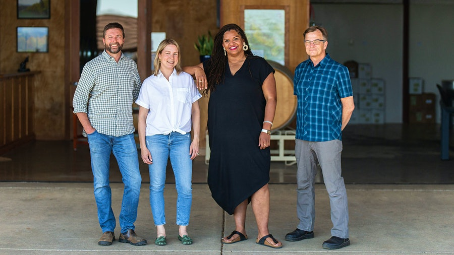 Vidon Vineyard's team, from left, winemaker David Bellows, co-owner Erin Allen, president Tiquette Bramlett, and co-owner Dru Allen, operate a 2,000 case Willamette Valley winery.