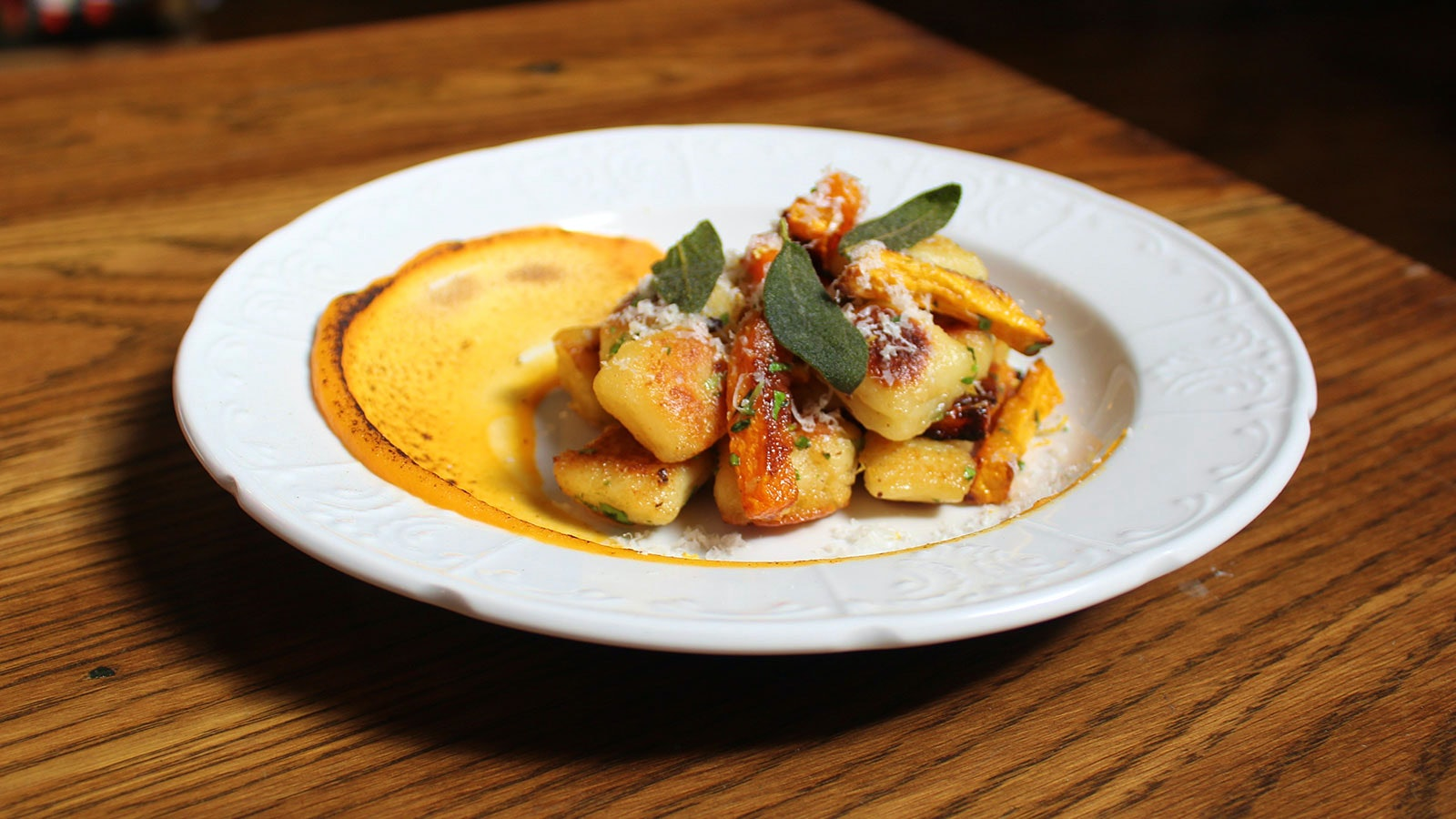 A dish with gnocchi and sage at Packing House Wines