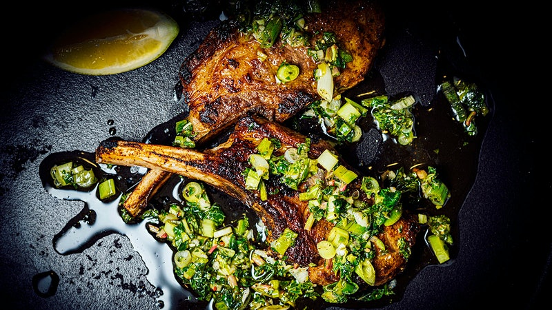 Nik Sharma's Lamb Chops with Scallion-Mint Salsa and Cucumber-Corn Salad for Memorial Day