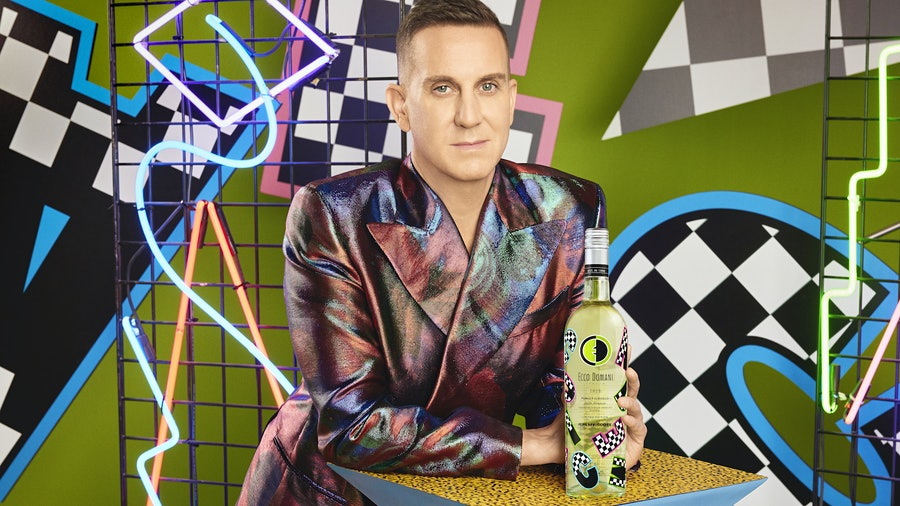 Fashion designer Jeremy Scott took inspiration from the bold 1990s aesthetic for his Ecco Domani Pinot Grigio bottle.