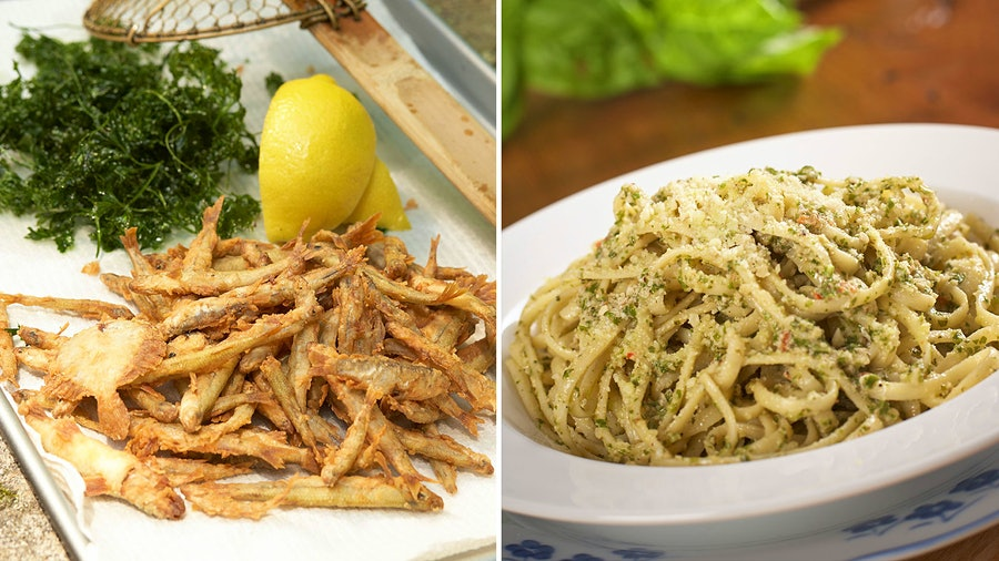 A starter of crispy fried fish leads into a beloved basil-packed pasta in chef Jacques Pépin's Father's Day menu.