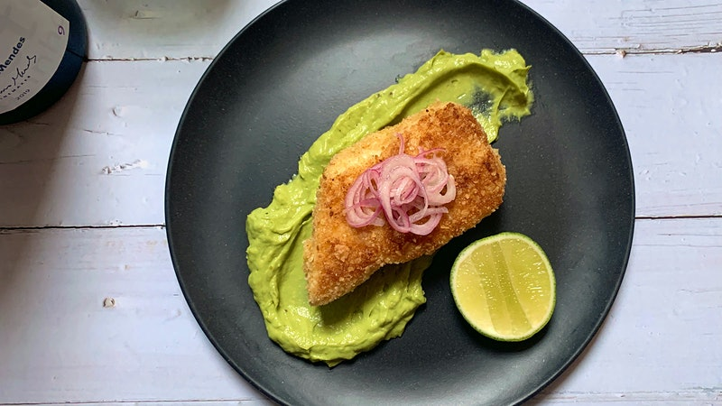 8 & $20: Tortilla-Crusted Fish with Creamy Avocado Sauce and Vinho Verde