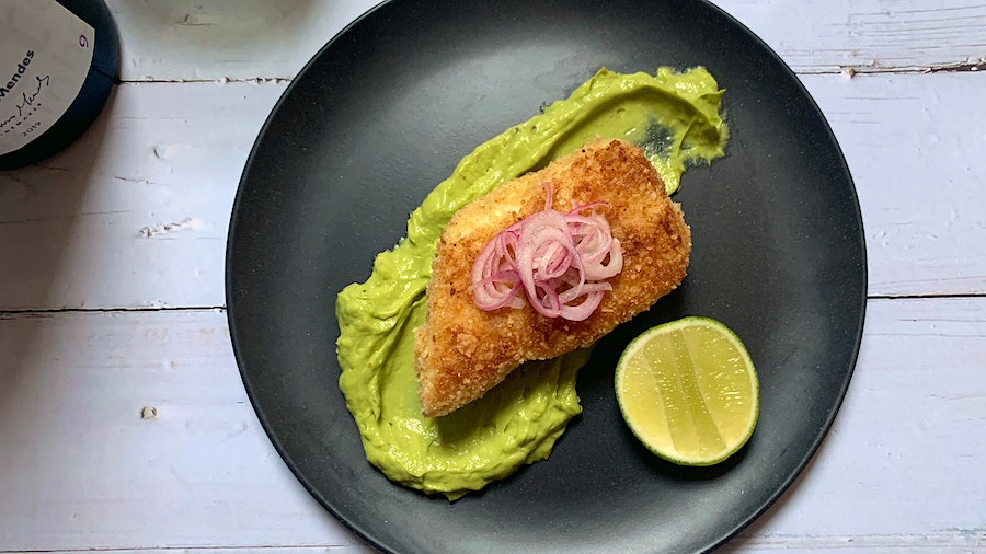 While the creamy avocado sauce adds color to any presentation, serving this entrée on dark dishes makes the colors really pop.